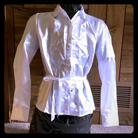 Cato Other - Girls white silky blouse with tie
